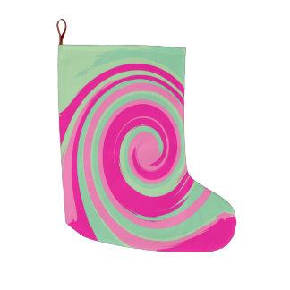 Meia De Natal Grande Twirl verde cor-de-rosa, magenta, verde & da