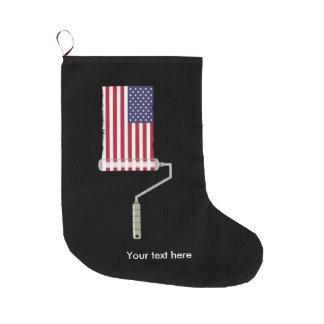 Meia De Natal Grande U.S.A. Rolo de pintura da bandeira