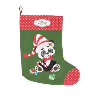 Meia De Natal Grande Urso de panda bonito Polkadot