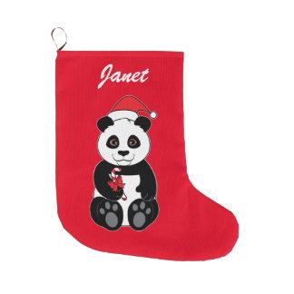 Meia De Natal Grande Urso de panda que Snacking no bambu