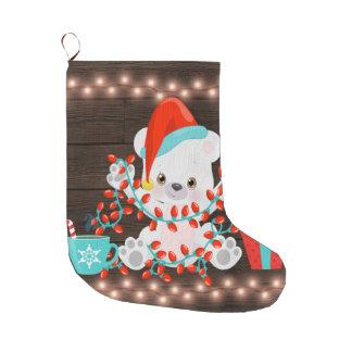 Meia De Natal Grande Urso polar pequeno bonito com luzes de Natal