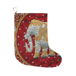 Meia De Natal Grande Vermelho Embellished e ouro do elefante indiano