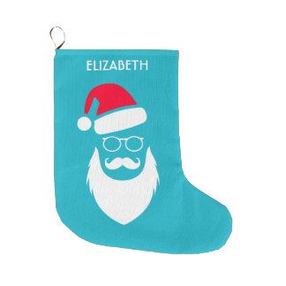 Meia De Natal Grande Vidros e bigode da barba de Red Hat do papai noel