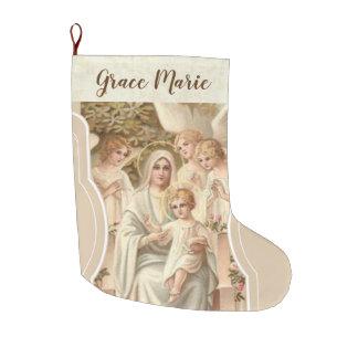 Meia De Natal Grande Virgem Maria personalizada com Jesus & anjos