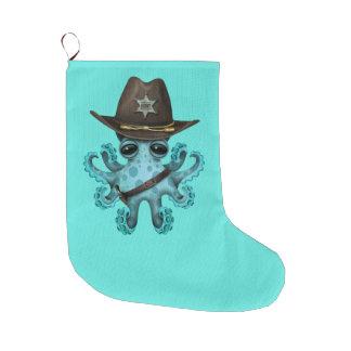 Meia De Natal Grande Xerife bonito do polvo do bebê azul