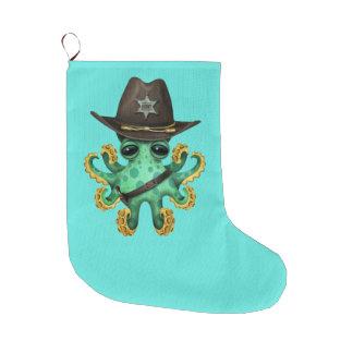 Meia De Natal Grande Xerife verde bonito do polvo do bebê