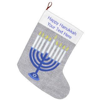 Meia De Natal Grande Z Hanukkah Menorah azul escuro Chrismukkah de