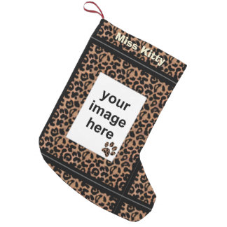 Meia De Natal Pequena A pata do teste padrão do leopardo imprime o