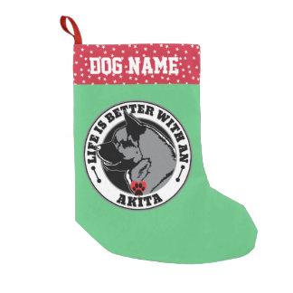Meia De Natal Pequena A vida é melhor com um cão de Akita