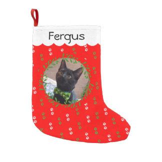 Meia De Natal Pequena Adicione sua meia do Natal da foto do gato