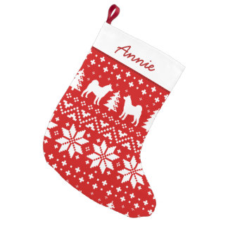 Meia De Natal Pequena Akita mostra em silhueta o teste padrão do feriado