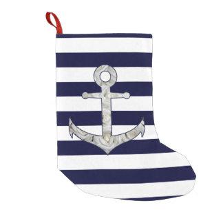 Meia De Natal Pequena Âncora náutica do rosa branco