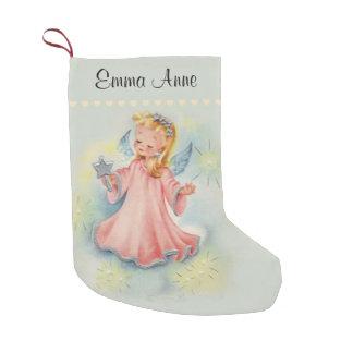 Meia De Natal Pequena Anjo bonito personalizado da menina do vintage