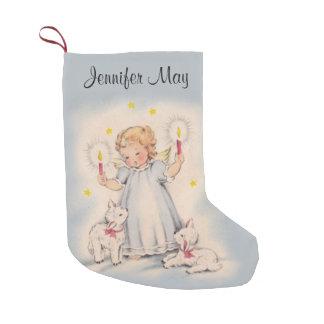 Meia De Natal Pequena Anjo bonito personalizado do vintage com cordeiros