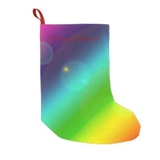 Meia De Natal Pequena Arco-íris borbulhante