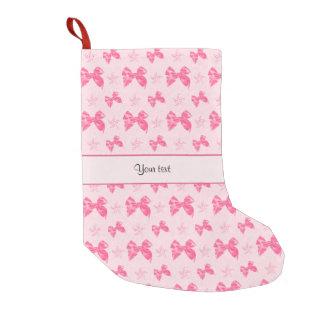 Meia De Natal Pequena Arcos cor-de-rosa bonitos do cetim