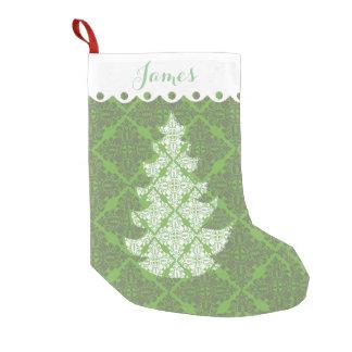 Meia De Natal Pequena Árvore verde e branca do feriado da cor damasco