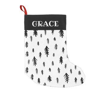 Meia De Natal Pequena Árvores de Natal preto e branco do Doodle
