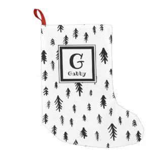 Meia De Natal Pequena Árvores de Natal preto e branco do Doodle do