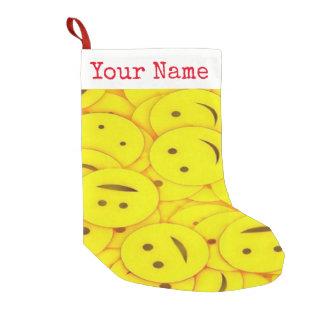 Meia De Natal Pequena As pilhas bonitos dos smileys face amarelos