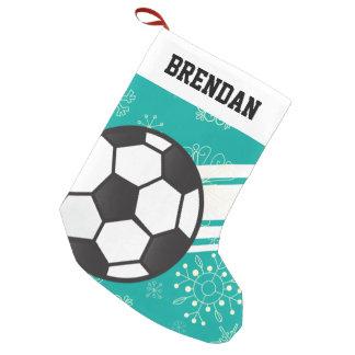 Meia De Natal Pequena Azul desportivo personalizado da cerceta da bola