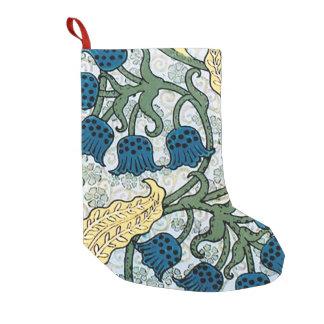 Meia De Natal Pequena Azul que repete o teste padrão floral