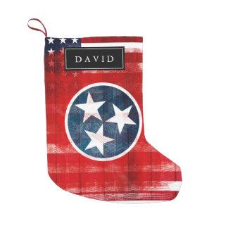 Meia De Natal Pequena Bandeira americana afligida & bandeira do nome de