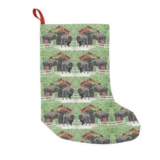Meia De Natal Pequena Boas festas bisonte de Bull na ponte coberta