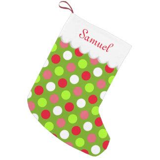 Meia De Natal Pequena Bolinhas do feriado personalizadas