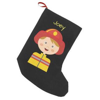Meia De Natal Pequena Bombeiro - sapador-bombeiro - desenhos animados