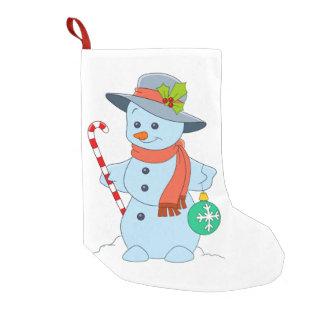 Meia De Natal Pequena Boneco de neve do inverno