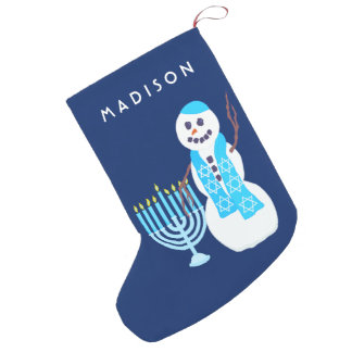 Meia De Natal Pequena Boneco de neve judaico Menorah SML Chrismukkah de