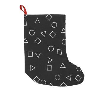 Meia De Natal Pequena Branco geométrico minimalista elegante do preto do
