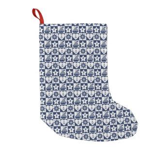 Meia De Natal Pequena Branco náutico dos azuis marinhos checkered