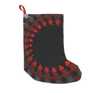 Meia De Natal Pequena Branco preto vermelho do Fractal