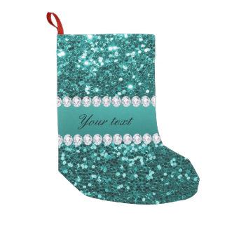 Meia De Natal Pequena Brilho chique e diamantes do falso da cerceta