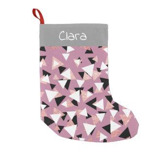 Meia De Natal Pequena Brilho cor-de-rosa do ouro dos triângulos