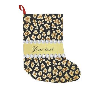 Meia De Natal Pequena Brilho do ouro do falso do leopardo e preto da