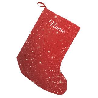 Meia De Natal Pequena Brilho vermelho do feriado das estrelas do Natal