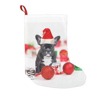 Meia De Natal Pequena Buldogue francês com enfeites de natal