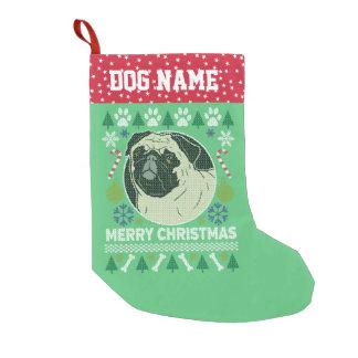 Meia De Natal Pequena Camisola feia do Natal da raça do cão do Pug