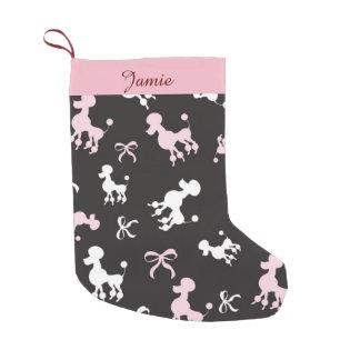 Meia De Natal Pequena Caniches bonito rosa e preto