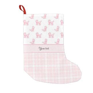 Meia De Natal Pequena Caniches & verificações cor-de-rosa do rosa