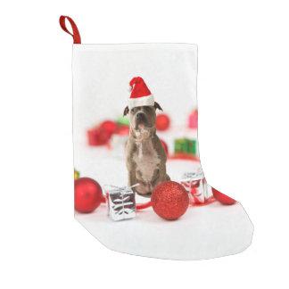 Meia De Natal Pequena Cão do pitbull com caixa de presente e enfeites de