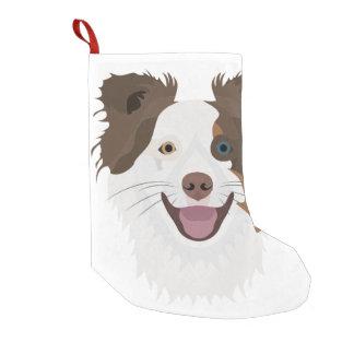 Meia De Natal Pequena Cara feliz border collie dos cães da ilustração