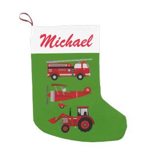 Meia De Natal Pequena Carro de bombeiros, plano e trator vermelhos
