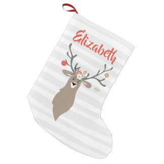 Meia De Natal Pequena Cervos lunáticos personalizados do veado do Natal