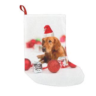 Meia De Natal Pequena Chapéu vermelho do papai noel de W do cão do