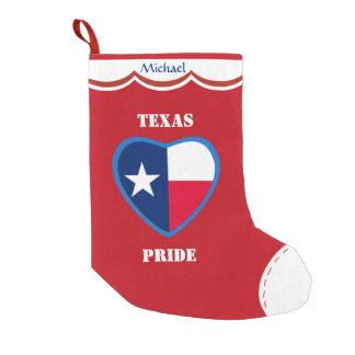 Meia De Natal Pequena Coração da bandeira de Texas personalizado