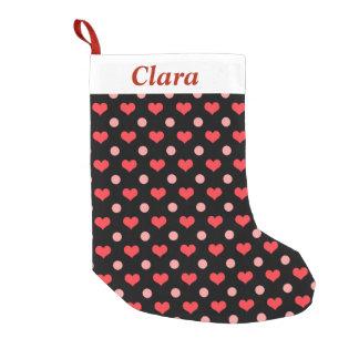 Meia De Natal Pequena corações vermelhos do amor, teste padrão de